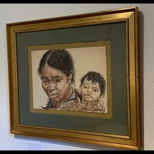 Mougar (?) Native American Woman & baby Art 🖼 Vtg